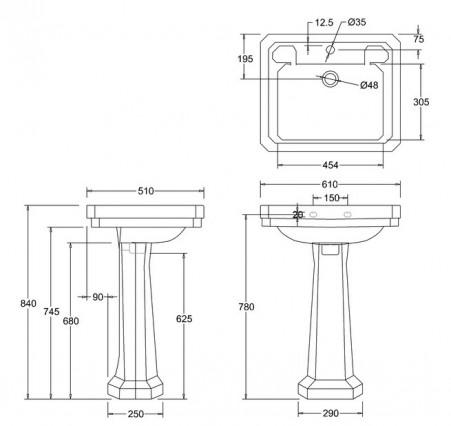 Lavabo 61 burlington victorian pedestal estandar terra ceramica - Altura de lavabo ...