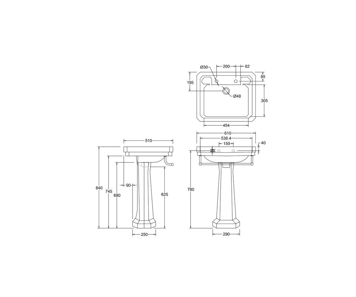 Lavabo Burlington Victorian Toallero Pedestal Estandar